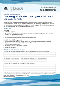 Pocket guide for tenants - houses and units (Form 17a) | Vietnamese translation