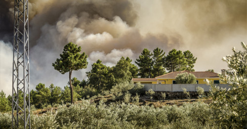Family home threatened by bushfire.