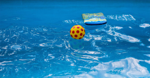 Pool with toys floating